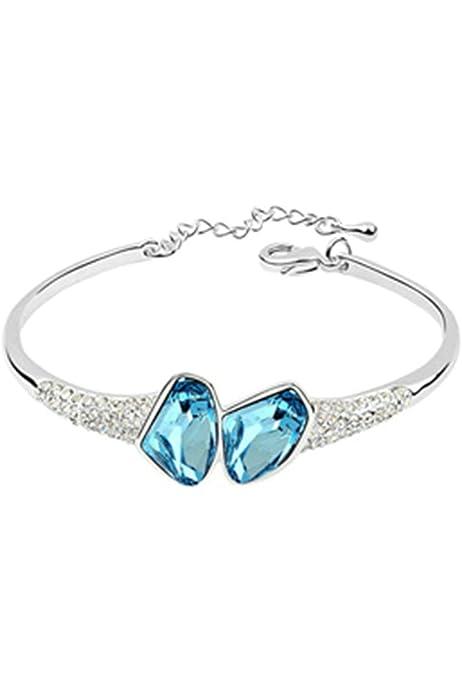 Adisaer Silver Bracelet for Womens Double Hearts Purple Cubic Zirconia Bracelet Bangle Silver