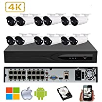 NightKing 4K 8MP ONVIF Security 12 Bullet IP Camera System,12Pcs 4K 8MP@30fps P2P Network Security IP Bullet Camera,3.6~11mm 4K Lens,130Ft Night Vision,Free App View