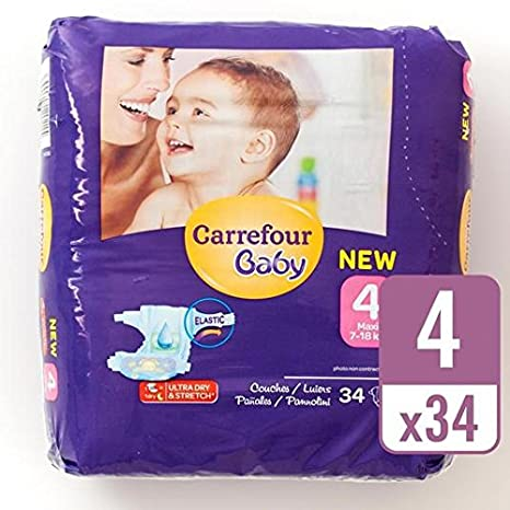 Carrefour Bebe Ultra Dry Tamano 4 Panales Carry Pack 34 Por