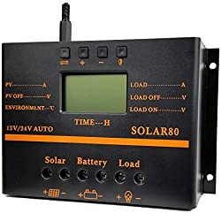 ZHCSolar Solar Charge Controller 80A PWM 12V 24V 1920W Solar Panel Charger Discharge Regulator with 5V USB Output Multip Circuit Protection Anti-Fall Durable ABS Housing Enhanced Heat Sink