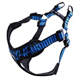 Petworthy Dog Harness, No Pull Dog Vest No Choke Escape Proof X Frame Outdoor Walking Sport Flyknit Fabric Design Adjustable Reflective Pet Vest Harness Small Dogs (S, Blue)