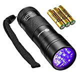 TaoTronics Black Light - UV Blacklight Flashlights - 12 LEDs 395nm - 3 Free AAA Batteries - Detector for Dry Pets Urine & Stains & Bed Bug