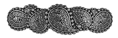 Paisley Hair Clip, Medium Hand Crafted Metal Barrette Made in the USA with a 70mm Imported French Clip by Oberon Design