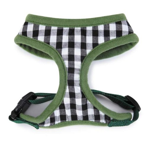 M. Isaac Mizrahi Gingham Collection Dog Harness, Medium, Green