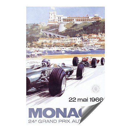 CGSignLab |Monaco 1966 Vintage Advertising Poster Fine Art Contour Graphics Self-Adhesive Aluminum Poster | - Posters Art Warehouse