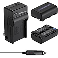 Powerextra 2 Pack Replacement Sony NP-FM50 Battery With Travel Charger for Sony NP-FM30 NP-FM51 NP-QM50 NP-QM51 NP-FM55H Battery and Sony M Type NP-FM50 Equivalent Camcorder / Digital Camera