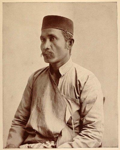 1893 Chicago World's Fair Portrait Malay Man Malaysia Costume Hat Historic Image - Original Halftone Print