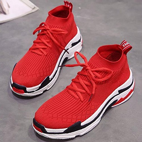 Cloth Athletic Comfortable Weaving GAOLIXIA Air Red Casual Shoes Sneakers Shoes Shoes Flying Breathable Outdoor Shoes Women's Black Red qSXOg