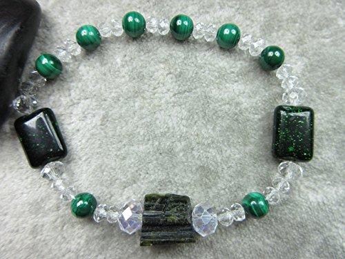 Genuine Bracelets Goldstone - Genuine Malachite, Green Tourmaline and Green Goldstone Healing Bracelet Money Success