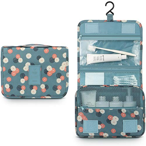 Mossio Hanging Toiletry Bag - Large Cosmetic Makeup Travel Organizer for Men & Women with Sturdy Hook Blue Flowers
