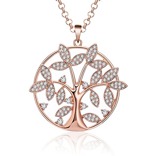 - Ouran Women's Tree Life Necklace, Charm Pendant Necklace Girls Long Chain Coat Necklace CZ Crystal Shining Rhinestone Necklace (Rose Gold)