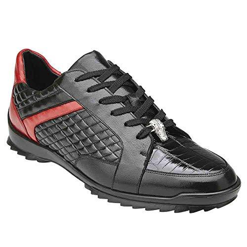 Belvedere Joel Genuine Crocodile & Soft Calf Black Men's Sneakers - 12 ()
