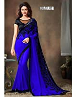 Zypara Women's Georgette Saree With Blouse Piece (Sequence_Blue_Royal Blue)