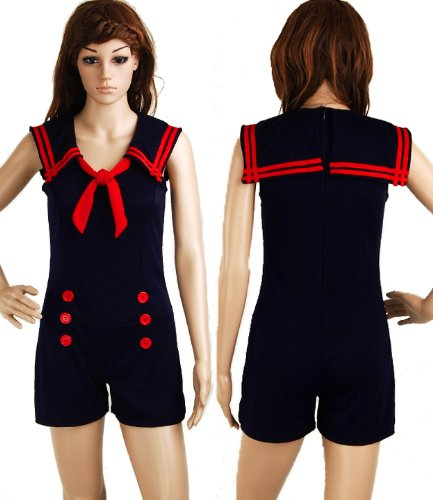 Jumpsuit-Sailor-Nautical-Navy-Blue-50s-Pin-up-Vintage-Retro-Rockabilly-Womens-Playsuit-Size-S-Small