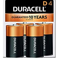 Duracell - CopperTop D Alkaline Batteries - long lasting, all-purpose D battery for household and business - 4 count