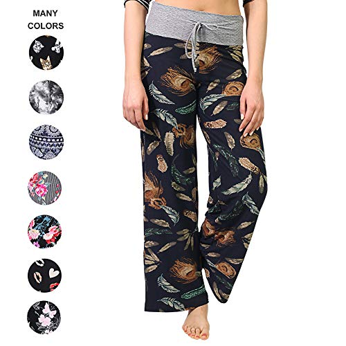 Pants for Women – Floral Print Drawstring Casual Palazzo Lounge Pants Wide Leg for All Seasons (X-Large, Plume Black) ()