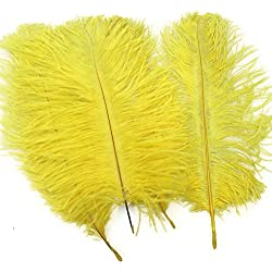 Sowder 20pcs Natural 10-12inch(25-30cm) Ostrich Feathers Plume Wedding Centerpieces Home Decoration(Yellow)