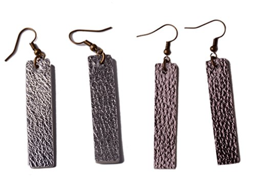 Larry Leather - L&N Rainbery 2 Pairs Bar Leather Earrings Antique Looking Rectangle Faux Leather Bohemia Dangle Drop Earrings (Silver+Gun metal)
