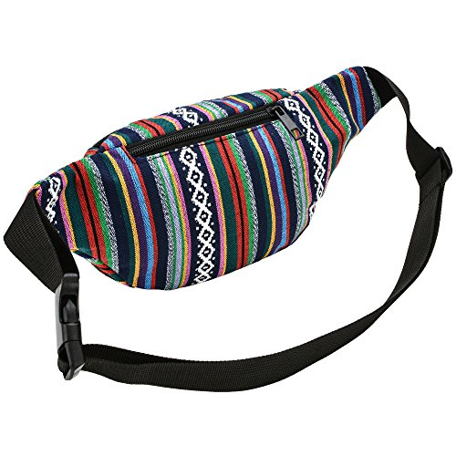 Kayhoma Boho Fanny Pack Stripe Festival Rave Bum Bags Travel Hiking Waist Belt Purse by Kayhoma (Image #2)
