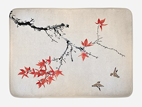 Ambesonne Japanese Bath Mat, Cherry Blossom Sakura Tree Branches Romantic Spring Themed Watercolor Picture, Plush Bathroom Decor Mat with Non Slip Backing, 29.5 W X 17.5 L Inches, Coral Black