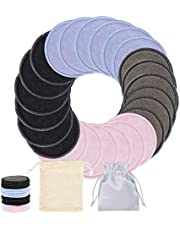 Reusable Makeup Remover Pads, 24 PCS Organic Cotton Rounds Washable Bamboo Cotton Pads Face Cleansing Toner Pads Facial Make Up Pads with Laundry Bag & Storage Bag (Colorful)
