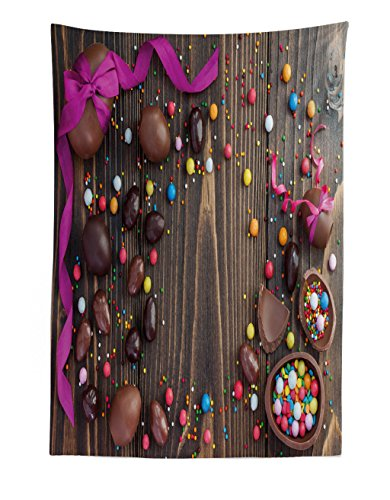 Lunarable Easter Tapestry, Wooden Board with Chocolate Eggs