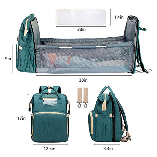 51o6UQDXl2L - Cosy Casa Baby Travel Diaper Bag Backpack With Bassinet Changing Mat Changing Station,Folding Crib Bag Foldable Mommy Bag For Baby Girl Boy Infant Mom Diaper-Bag-Backpack-Baby-Travel(Green)