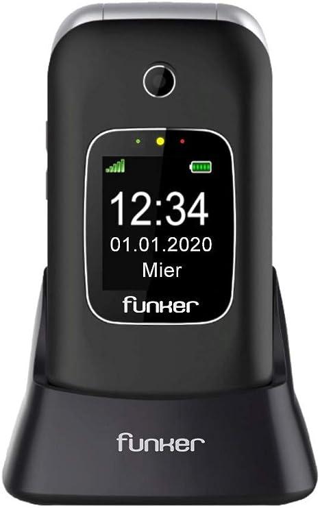 Teléfono Móvil Funker C85 Easy Comfort Negro con Tapa para Personas Mayores con Botón SOS Base Cargadora Negro: Amazon.es: Electrónica