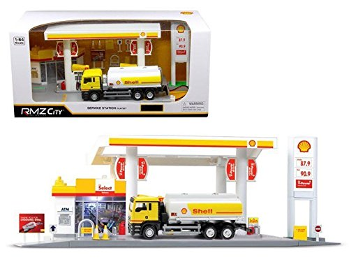 NEW 1:64 RMZ CITY DIORAMA COLLECTION - SHELL STATION WITH TANKER PLAYSET PLAY SET Model Car By RMZ City