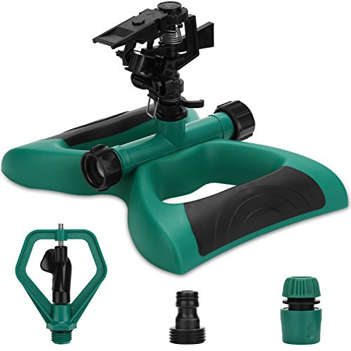 Enjoyee Impact Lawn Sprinkler, Automatic Water Sprinkler for Garden with User Manual, Rotating Adjustable Angle and Distance, Bonus 1 Rotary Sprinkler Head, Waters Up to 40' Diameter (style 2)