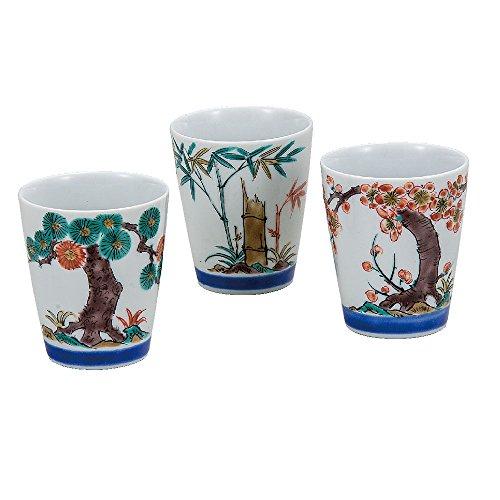 Kutani ware pottery, 3 pieces of sake cups, Shochikubai (Pine Bamboo Plum) AK5-1159