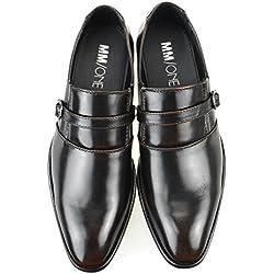 MM/ONE Mens Shoes Slip on Loafer Plain toe Strap Dark Brown 44 EU (US Men's 10.5 M)