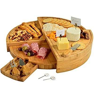 "Picnic at Ascot Patented Bamboo Cheese/Charcuterie Board with Cheese Knife Set & Cheese Markers- Stores as a Compact Wedge- Opens to 18"" Diameter- Designed & Quality Checked in USA"