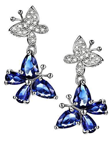 Sapphire Drop Earrings Sterling Silver Butterfly September Birthstone CZ Fine Jewelry for Women
