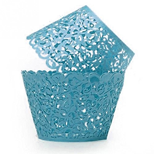 [GRM[TM] 100PCS/Lot Blue Vine Lace Laser Cut Valentine Cupcake Baking Cups Liners Muffin Liner Cake Paper Mold Cup Wrapper Liner Baking Wedding Birthday Christmas Party] (Tin Foil Robot Costume)