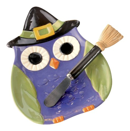 Green and Purple Witchy Halloween Owl Serving Plate with Broom Spreader