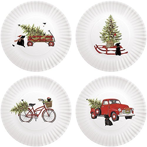 Mary Lake-Thompson Holiday Truck with Black Lab 8.75-inch Melamine Plates, Set of 4