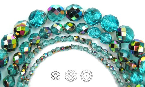 4mm (102) Aqua Vitrail coated, Czech Fire Polished Round Faceted Glass Beads, 16 inch ()