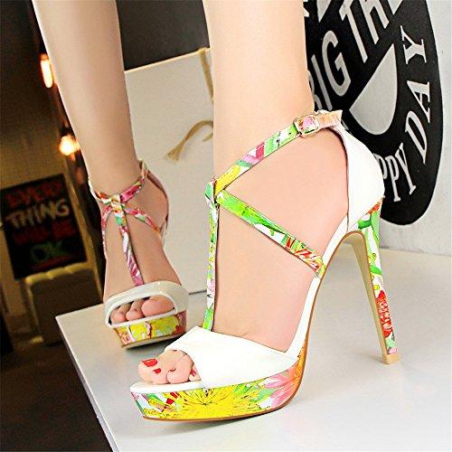 z&dw Super alto talón impermeable mesa de color floral t-Band Sexy sandalias Blanco