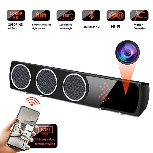 GSmade Mini Camera WiFi Bluetooth Speaker Camera, Mini Nanny Camera 4K 160 Degrees Wide Angle, WiFi Mini Camera with 26Feet Night Vision for Property Security