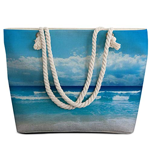 Sleepwish Extra Large Womens Canvas Beach Tote Bag with Top Zipper Closure and Waterproof, Spacious Summer Handbag with Trendy Design for Women Beach