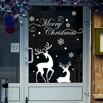Christmas Window Decal Stickers Decorations Santa Claus Shop Glass Door  Home Wall Art Decals (Deer