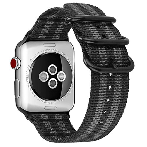 Fintie Band for Apple Watch 44mm 42mm Series 5/4/3/2/1, Lightweight Breathable Woven Nylon Sport Loop Wrist Strap with Metal Buckle Compatible with All Versions 44mm 42mm Apple Watch, Black/Gray
