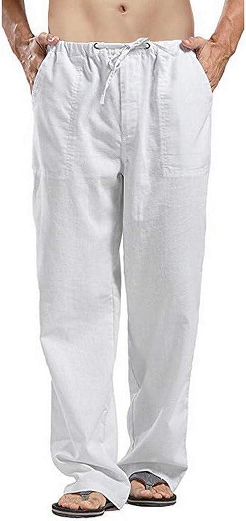 FRAUIT Pantalone Lino Uomo Taglie Forti Pantaloni Tuta Uomini Leggeri Larghi Plus Size Oversize Pantaloni da Lavoro Ragazzo Estivi Elasticizzati Coulisse Pantaloni Cargo Slim Fit Bermuda