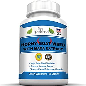HORNY GOAT WEED 1000mg With MACA EXTRACT 250mg In Advanced Sexual Enhancement Formula For Men And Women, Helps Better Blood Circulation, Supports Hormonal Balance, Natural Herbal Libido Booster