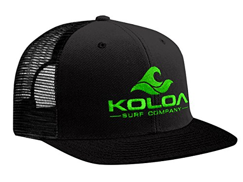 Awesome Flat Caps - Koloa Surf(tm) Mesh Back Wave Logo Trucker Hat in Black/Black Neon Green Logo