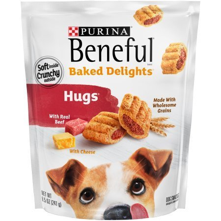 2 Pack of Purina Beneful Baked Delights Hugs Dog Snacks 8.5 oz. Pouch For Sale