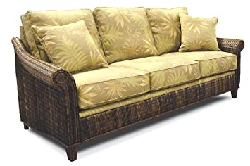 Good Indoor All Natural Abaca Tropical Rattan And Wicker Queen Sleeper Sofa