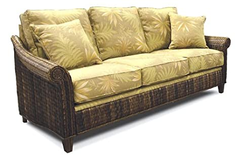 amazon com indoor all natural abaca tropical rattan and wicker rh amazon com Wicker Queen Sleeper Sofa Pull Out Wicker Sofa