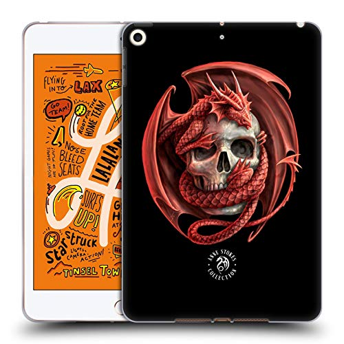 Official Anne Stokes Dragon and Skull Fire Tribal Soft Gel Case Compatible for iPad Mini (2019)